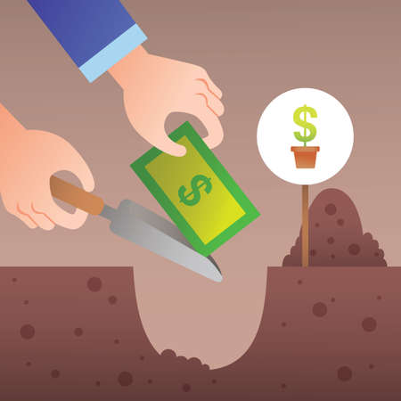 hand trowels: sowing money Illustration