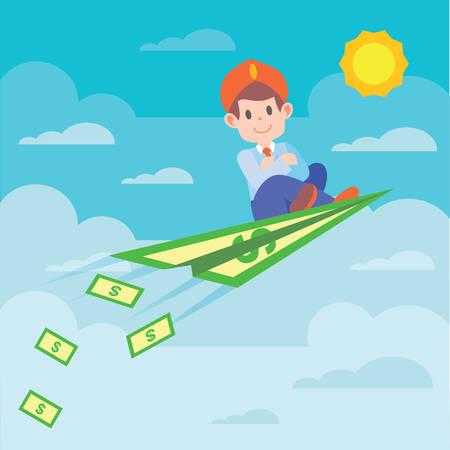 man sitting: man sitting on a banknote airplane