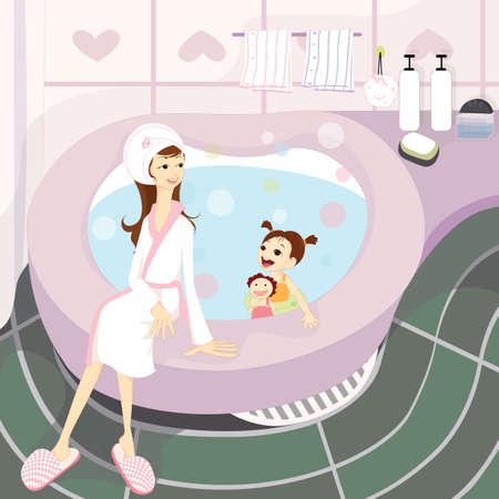 woman in bath: woman with child in bath tub Illustration