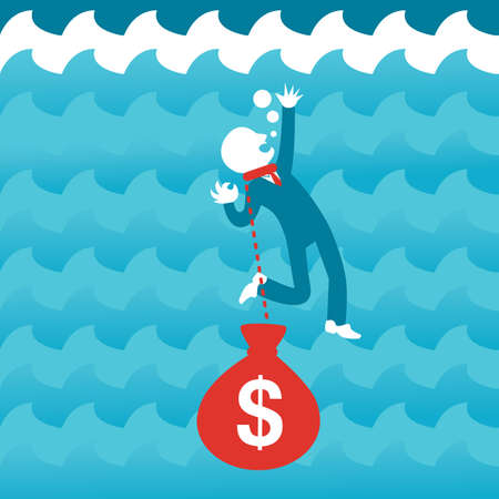drowning: man drowning in debt Illustration