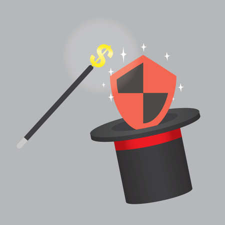 magician hat: shield in magician hat Illustration
