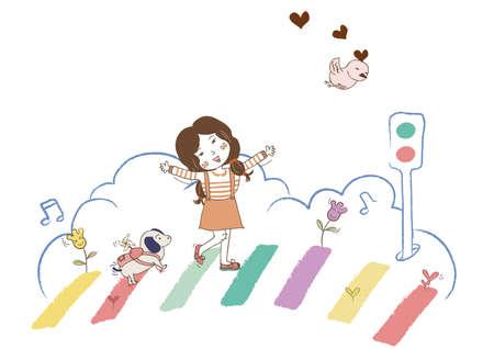 girl walking on rainbow crossing