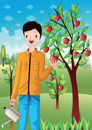 plucking: boy plucking apples from tree
