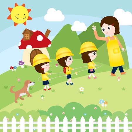 following: children following the teachers guide