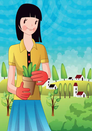 potted plant: girl holding potted plant