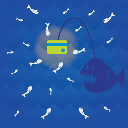 animal related: fishes attracted to the light of an anglerfish Illustration
