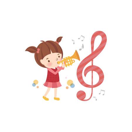 blowing: school girl blowing her trumpet
