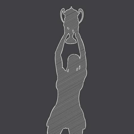 sportswoman: silhouette of a sportswoman holding a trophy