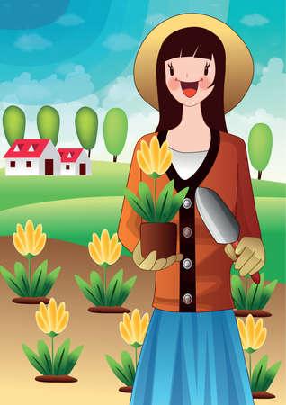 girl holding flower: girl holding flower pot and trowel in hands