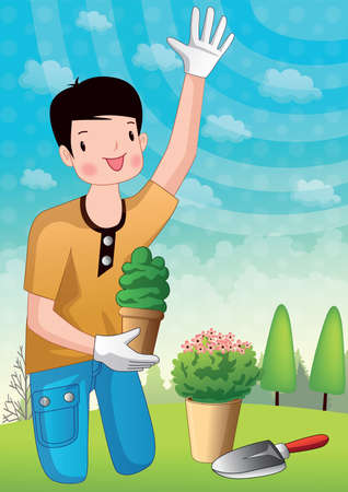 potted plant: boy holding potted plant and waving hand