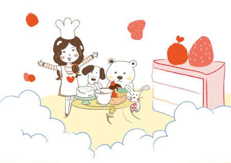 baking cake: girl baking cake with dog and bear Illustration