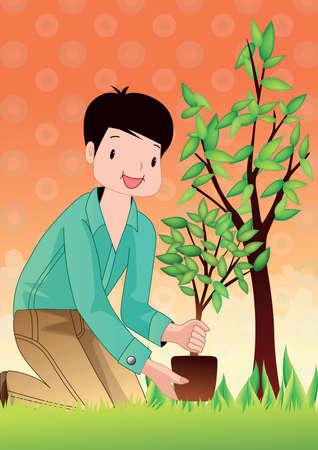 planting: boy planting tree