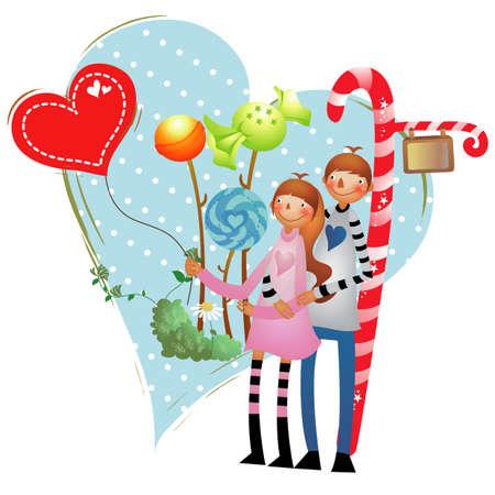heart balloon: couple flying heart balloon Illustration