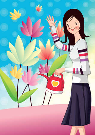 water in can: girl holding water can and waving hand Illustration