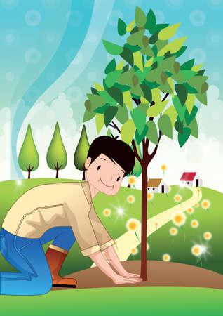 árboles de plantación niño