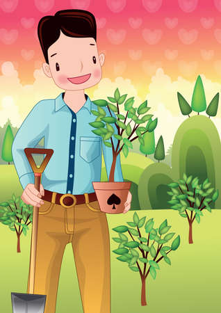 potted plant: boy holding shovel and potted plant