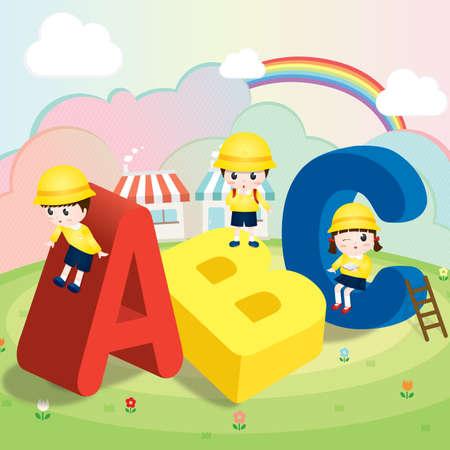 rainbow slide: children playing with abc alphabets Illustration