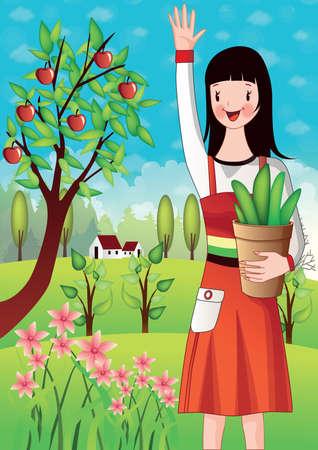 girl holding flower: girl holding flower pot and waving hand