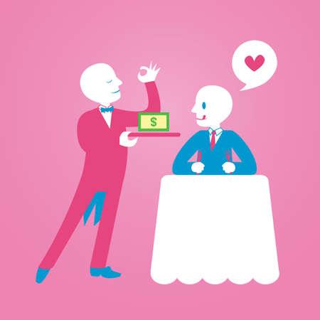 waiter serving: waiter serving money Illustration