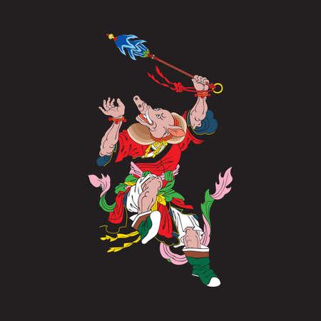 chinese pig: chinese pig zodiac Illustration