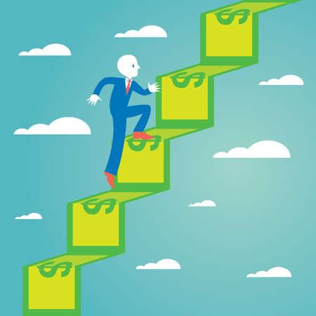 upstairs: businessman going upstairs