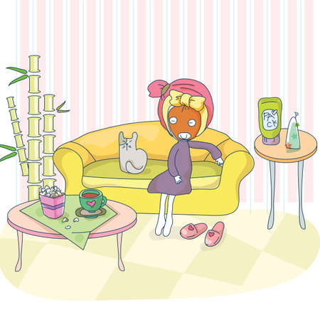 sitting sofa: girl with face pack sitting on sofa Illustration