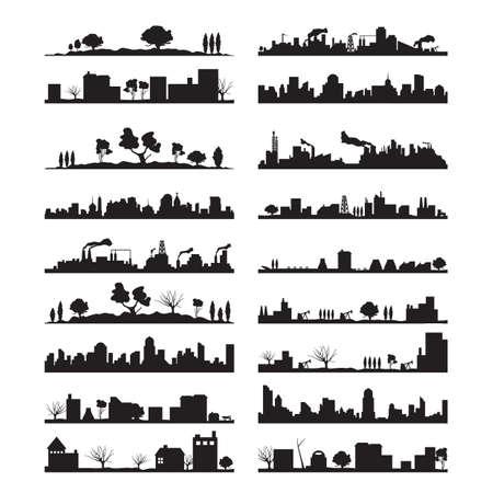 Ciudad paisaje silueta colección
