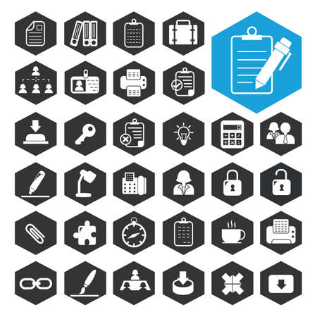coworkers: business work icon collection Illustration