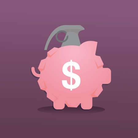 destroying: granite bomb in the form of piggy bank Illustration