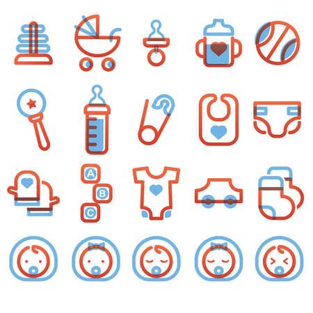 car clothes: baby icon set