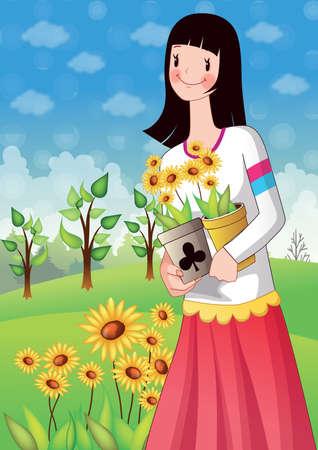 girl holding flower: girl holding flower pots in hands