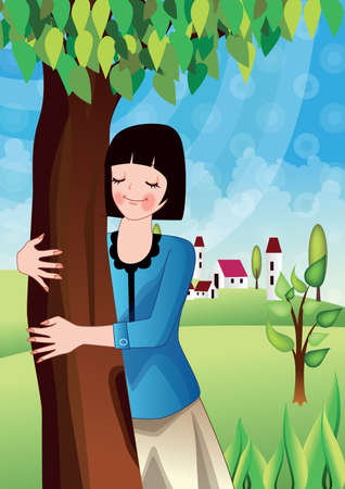 25 30 years: Young Woman Hugging Tree --- Image by ?Gareth BrownCorbis