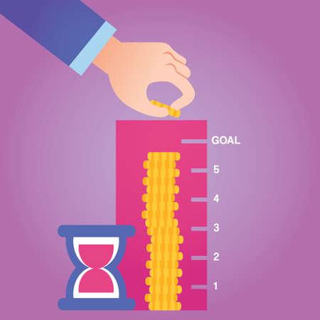 measuring: man measuring coin stack
