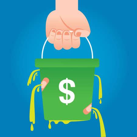 Undichte Geld Eimer Standard-Bild - 51514631