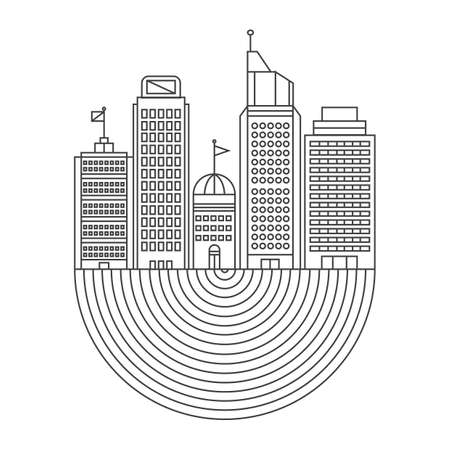is outlined: outlined buildings Illustration