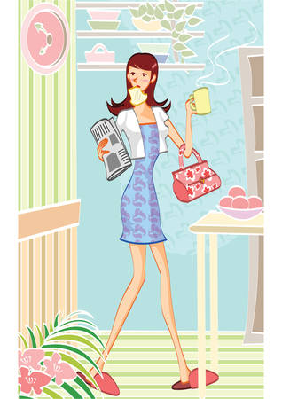 haste: woman in a hurry Illustration