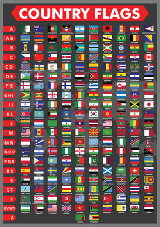 alphabetical: country flags in alphabetical order