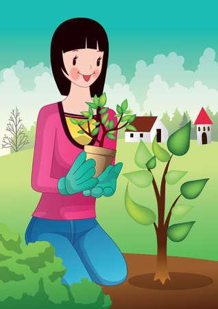 planting tree: girl planting tree