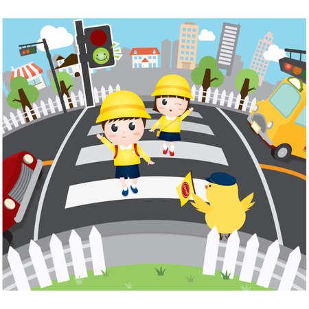 school children crossing the road