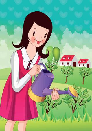 regando plantas: plantas de riego de la chica Vectores