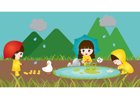 children pond: children playing in rain near a pond Illustration