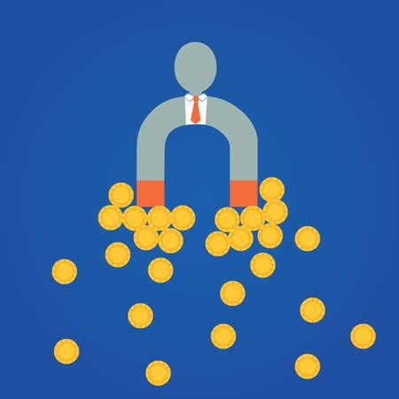 attracting: businessman attracting money Illustration