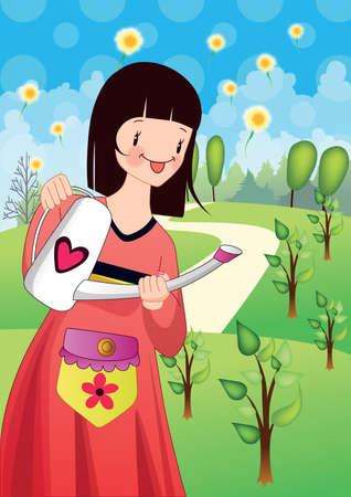 regar las plantas: plantas de riego de la chica Vectores