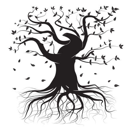 falling leaves: silhouette of tree with falling leaves Illustration