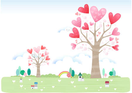 houses: houses under big heart trees Illustration