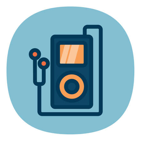 mp3: mp3 player with earphones Illustration