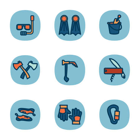 ice axe: set of travel icons