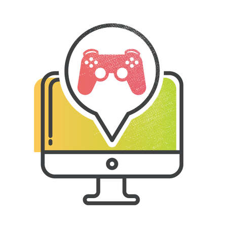 game controller: computer with game controller Illustration