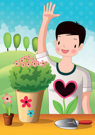 hand trowels: boy standing near flower pot and waving hand Illustration