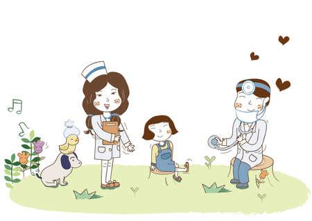 checkup: girl getting medical checkup